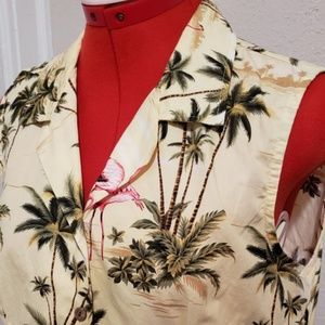 Hawaiian cotton flamingo yellow sleeveless top L